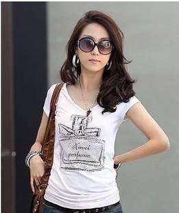 Free Gift 2623 2013 summer new arrival 100% cotton female brief V-neck short-sleeve T-shirt perfume bottle