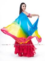 2013 Belly Dance Accessory Props 100%Pure Silk Gauze Kerchief,Performance Belly Dance Colorful Veils,Noble Gorgeous,200cm*110cm