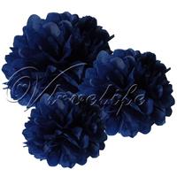 "Free shipping 10pcs 38cm 15"" Navy Blue Tissue Paper Pom Poms Wedding Birthday Party Home Decor Craft Favors"