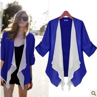 Free Shipping! Women Fashion Three Quarter Sleeve Blazer Elegant Chiffon Patchwork Coat,.2 colors,S/M/L/XL