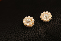 Pearl Flower Rhinestone Crystal Diamond Home Button Sticker For iPhone4/4S/iPhone5 10PCS/lot Free Shipping H24