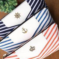 New Cute Canvas Navy Marine Stripe Style Wallet/change pocket/ Pencil Case Zipper Pouch Bag Pen Box Clutch