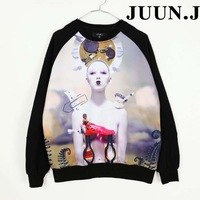 Juun . flower j hallucinogenic lady 3d robot long-sleeve lovers sweatshirt outerwear male  free shipping