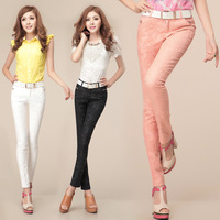 Free shipping Cholenite2013 women's lace crotch slim casual skinny pants trousers