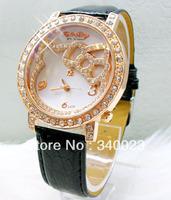 Hot! 10pcs New Black Hello Kitty Crystal Stone Quartz Girls Ladies Wrist Watch, K23