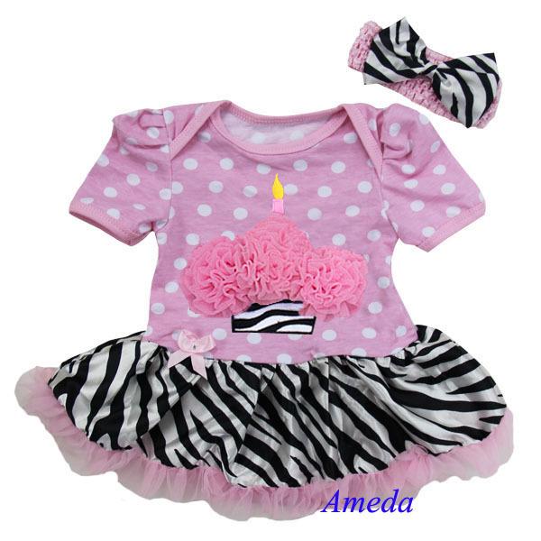 Baby Cupcake Light Pink Polka Dots Zebra Bodysuit Pettiskirt and Headband 0-18M(Hong Kong)