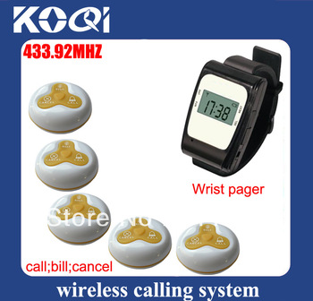 Nice 433.92MHZ Buzzer key wireless pager for Restaurant  Pager System Wireless Calling Waiter Server Call Paging System K-630+O3