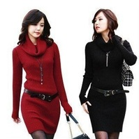 Hot Selling!2013 autumn and winter Free Shipping Wholesale Sweater Dress Women long sleeve Slim dress with Belt Free 4 Color
