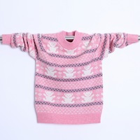 Thick winter child 2013 female child cartoon bear o-neck sweater sweater