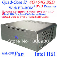 2013 alluminum windows 7 computers i7 quad core 3770 3.4Ghz DVD rewriter BD-ROM Intel HD Graphic 4000 8MB cache 4G RAM 64G SSD
