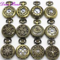 Mixed Designs Antique Bronze Alice in Wonderland Quartz Pocket Watch Necklace, 12pc/lot, Wholesale, mix designs APW003