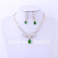bridal accessories cheap bijou jewelry 18K gold Plated green crystal earring  flower  sapphire gift  Dubai bijou Jewelry Set