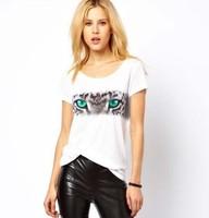 2014  Fashion women Stripe tiger eye color printing white Round collar Women T shirt  free shipping