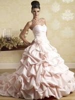 A-Line Sweetheart Neck Court Train Sleeveless Floor-Length Taffeta Wedding Dress With Flower  HWGJWD14