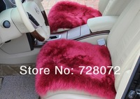 Free Shipping (DHL,FEDEX,EMS) 1 Set (3pcs) Luxurious Pure Wool AUS Sheepskin Car Seat Covers-Dark Red