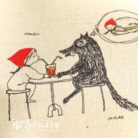 Fluid fabric handmade diy patchwork handmade fluid painting canvas little red riding hood big gray wolf