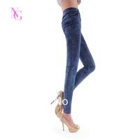 Fashion all-match faux denim blue slim basic ankle length leggings