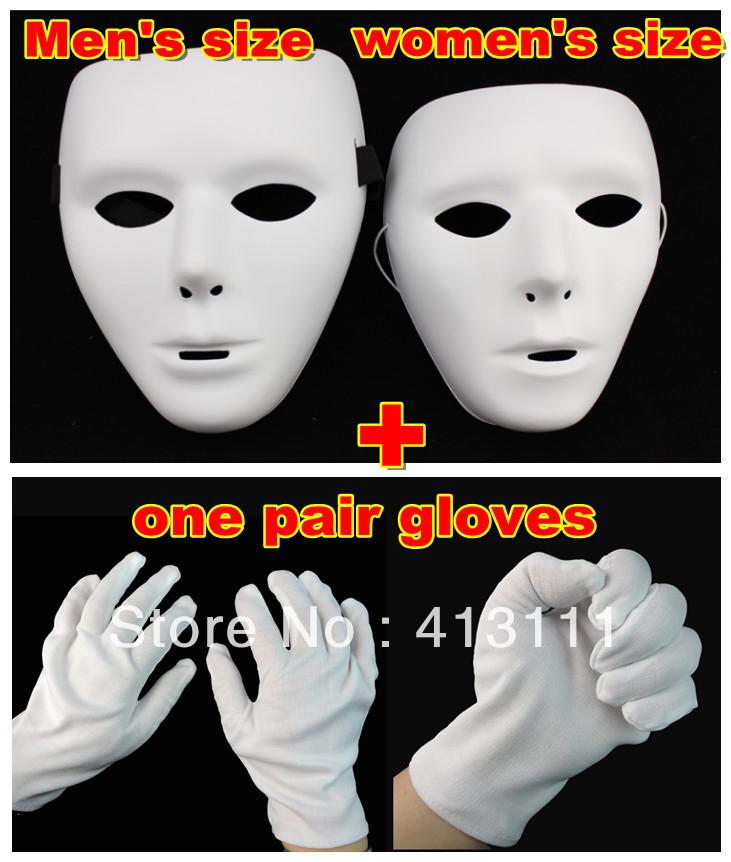 Free shipping HIPHOP mask Jabbawockeez mask white/ men's and women's mask ++ one pairs gloves Street Step Dance hot 5pcs/lot(China (Mainland))