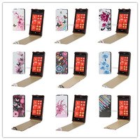 Flowers and Butterflies Pattern Vertical Flip Leather Case for Nokia Lumia 520