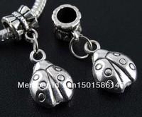 Wholesale Fashion Vintage 100 PCS Tibetan Silver  Ladybug Charms Pendants DIY Jewelry Making Findings Free Shipping 28*7mm Z101