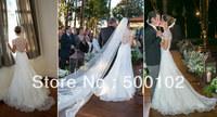 Elegant Square Cap Sleeve Lace Wedding Dresses