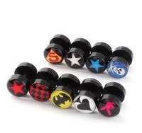 Hot free shipping 10*6*1.2mm 200 pcs mixed 10 logos Acrylic Enamel unisex fashion body piercing jewelry tuunel earplugs novelty