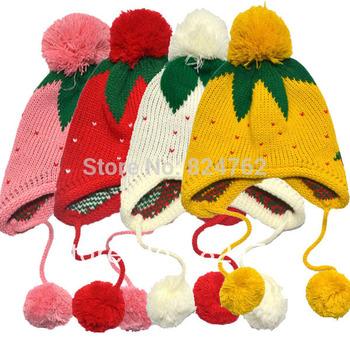 Free&Drop Shipping 10Pcs/lot ***4colors Kids Girls Baby Knitting Crochet Hat Strawberry Pattern Winter Cap 1-6 Years XL153#10