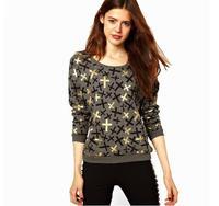 New Arrival Casual Black Bronzier Cross Print O-neck Long-sleeve Pullover Sweaters Dark Gray Women's Sweatshirt 6 Sizes