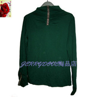 Blackish green polo-necked embroidered collar long-sleeve sweater