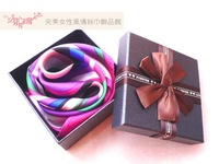 Free Shipping Colorful stripe fashion pure silk small facecloth commercial silk scarf