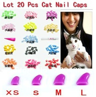 New Lots20pcs14 colors Soft Cat  Pet Nail Caps Claw Control Paws off + 1 pcs Adhesive Glue Size XS S M L XL XXL Free Shipping