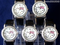 Free shipping 5pcs New Black Hello kitty fashion Lovely watch Wrist Watch , K7-BK