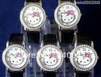 Free shipping 5pcs New Black Hello kitty fashion Lovely watch Wrist Watch , K7-BK