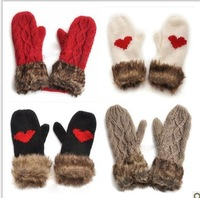 Free shipping fashion lady winter warm pure hand-woven wool twist love Halter gloves 8 colors