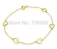 pure 14k yellow glod women bracelet  loves chain  fashion jewelry bracelet  europen style  gift  free shipping