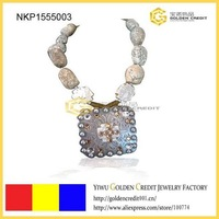 free shipping fashion Set drill hand made stone necklace