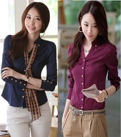 2013 OL Cotton Puff Sleeve Work Wear Dress Shirts Ladies Formal Business Blouses