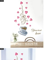 QZ331 Free Shipping 1Pcs Your Text Here Cooffe Love Heart Afternoon  Removable PVC Wall Stickers Fancy Home Decoration Gift