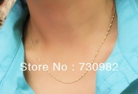 pure 14k yellow gold  necklace supperline wave chain  fashion suits for all occasion necklace free shipping