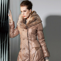 2013 new down coat rabbit fur long design slim down coat female plus size outwear coats