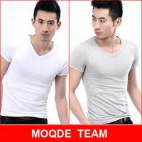 new Promotion!2013 hot free shipping Men clothes t shirt high-elastic cotton men's short sleeve v neck tight shirt male T-shirt