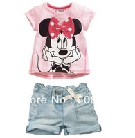 Free Shipping 5sets/lot baby girls Catoon Minnie Mickey clothing set,Pink Short Sleeves T-shirt+shorts 2pcs set,Kids Summer wea