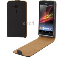 Black Up and Down Vertical Flip Leather Case for Sony Xperia SP M35h Free Shiping Support Big Order