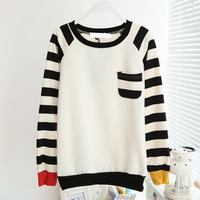 Free Shipping Fashion Black White Fleece Sweet Brief Stripe Pocket Print Pullovers Women Sweatshirts 2013 Autumn Winter