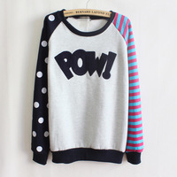 [amy]Pow!flocking letters fleece inside sweatshirts big dot and stripe sleeve nice design women hoodies 4 color 9064 free