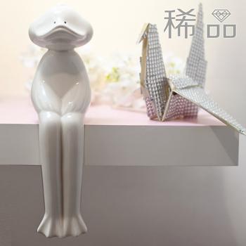 Original design handmade ceramic long style rabbit animal decoration desk small decoration accessories
