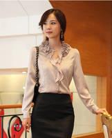 Ladies Korea Style Elegant Business Wear Chiffon Silk Blouses Women Ruffle Collar Career Work Shirts