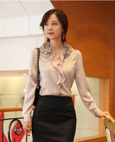 Ladies Korea Style Elegant Business Wear Chiffon Silk Blouses Women Ruffle Collar Career Work Shirts