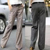Free Shipping 2015 Women Linen long trousers ,loose Wide leg leisure pants S M L XL XXL XXXL