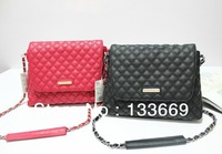 MANGO MNG Quilted Shoulder Chain Bag Leather Crossbody Messenger Shopper Handbag Black&Red